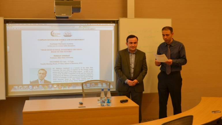 "Lecture on ""Shah Deniz II Final Investment Decision"" by Bakhtiyar Aslanbayli, professor of Baku State University."