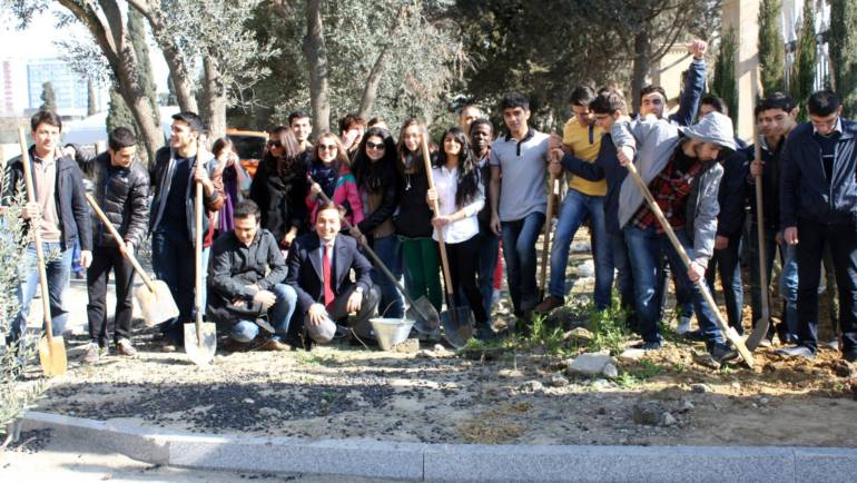 ADA University students planting trees on the eve of Novruz