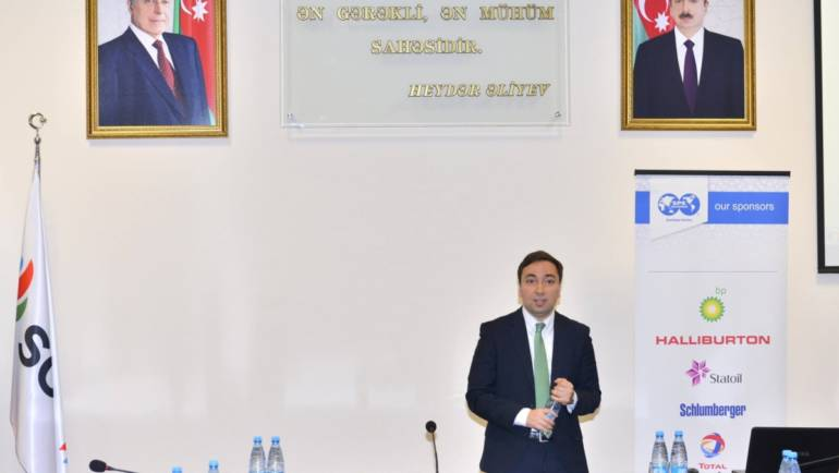 Akhmed Gumbatov delivered a speech at SPE Symposium in Baku Higher Oil School
